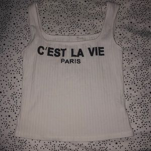 Tops - Never worn white tank top with French writing